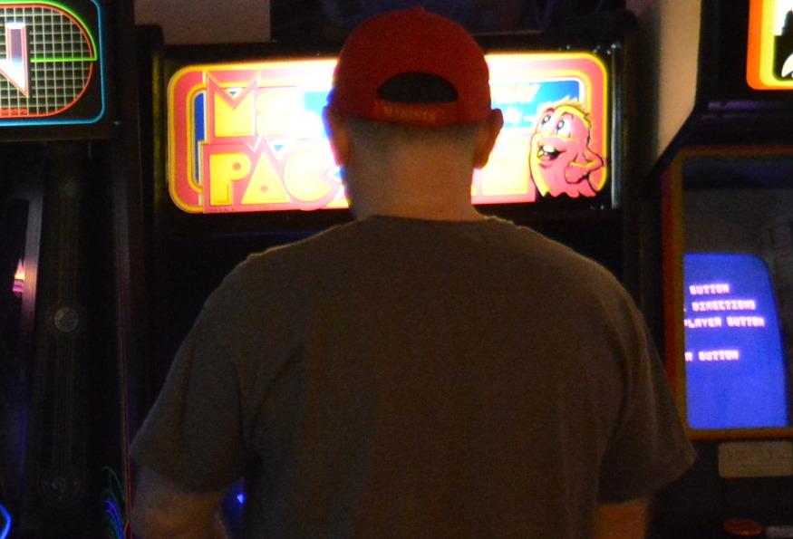 David Race playing Ms Pac Man