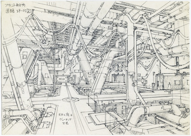 Concept design for Ghost in the Shell 2: Innocence (2004). Pencil on paper, 176 × 250 mm. Illustrator: Takashi Watabe Copyright: © 2004 Shirow Masamune / KODANSHA · IG, ITNDDTD