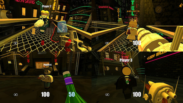 an image of Jazzpunk death match which shows an image splitscreen four ways and features the wedding cake Gatling gun and cork bottle weapons.
