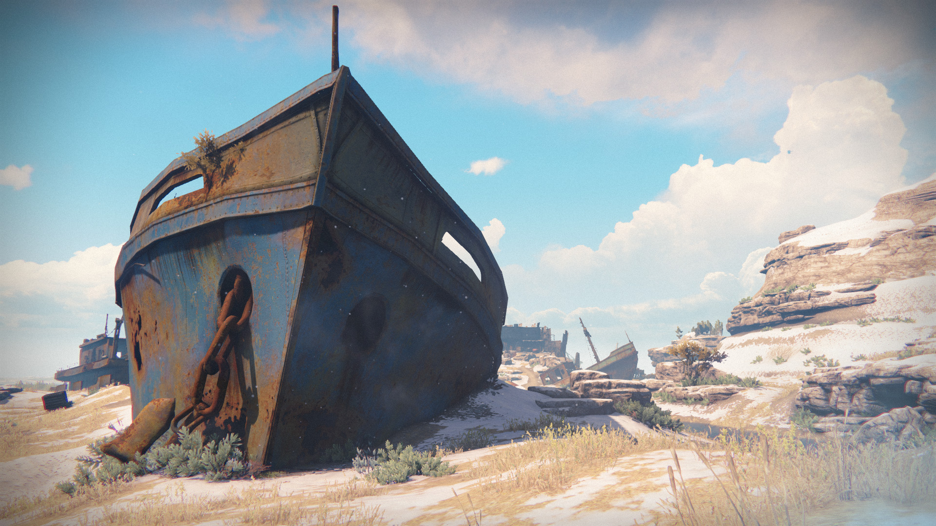 a boat lies rusted and grounded on snowy wastes