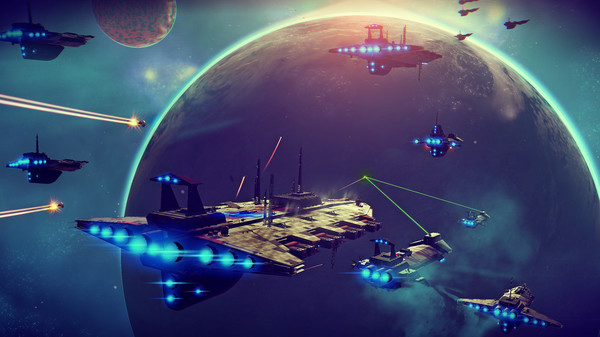 screenshot from No Man's Sky depicting a space battle, one of the disputed images from the NMS steam