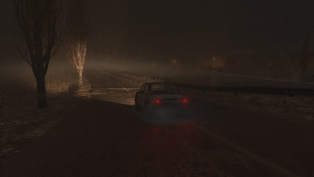 A cars headlights illuminate a foggy night in a still from this as of yet untitled game
