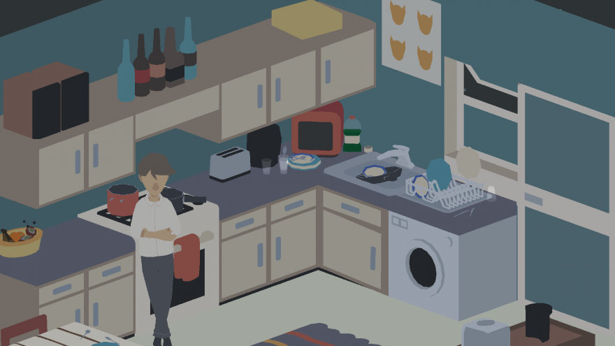 screenshot from the game 29, showing a closer shot of the character standing in a kitchen