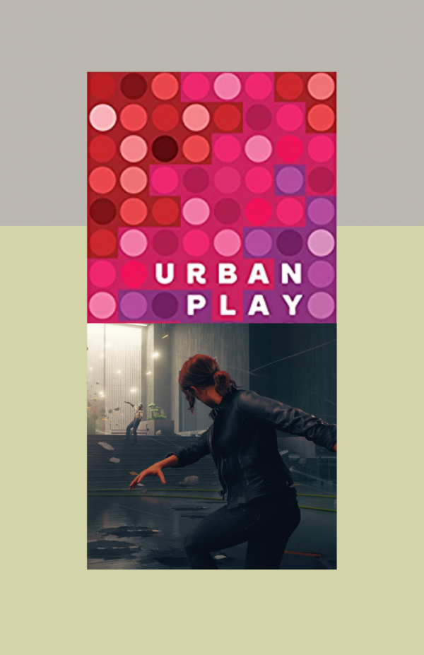 """top of image is a red square with multiple warm-tone dots on it. At the bottom of the suqare is the words """"Urban Play"""" in all caps. Below is another square featuring a screenshot of the video game """"Contro"""" showing a woman in all black in motion"""
