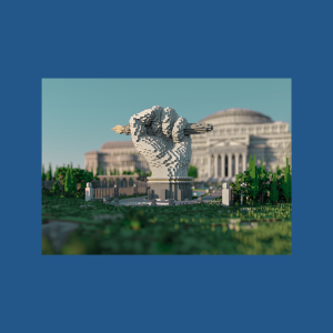 a statue of a fist holding a pencil in front of a libary amidst a green park. The entire image is made in minecraft