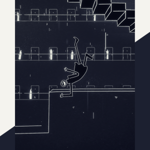 black and white still from Genesis Noir Game. A line art figure is falling through space in front of a series of doors